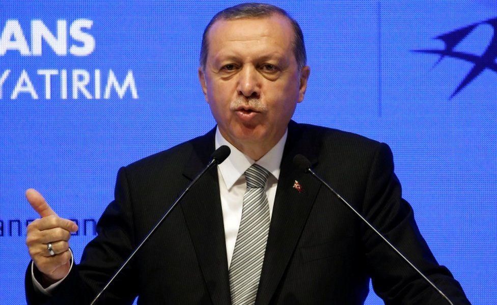 Turkish President Tayyip Erdogan speaks during a ceremony in Istanbul, Turkey, on 21 July, 2017.