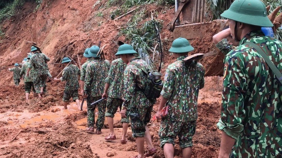 Rescue workers search for missing soldiers in Quang Tri Province, Vietnam, on 18 October 2020