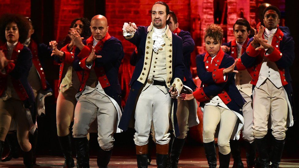 Lin-Manuel Miranda with the Broadway cast of Hamilton