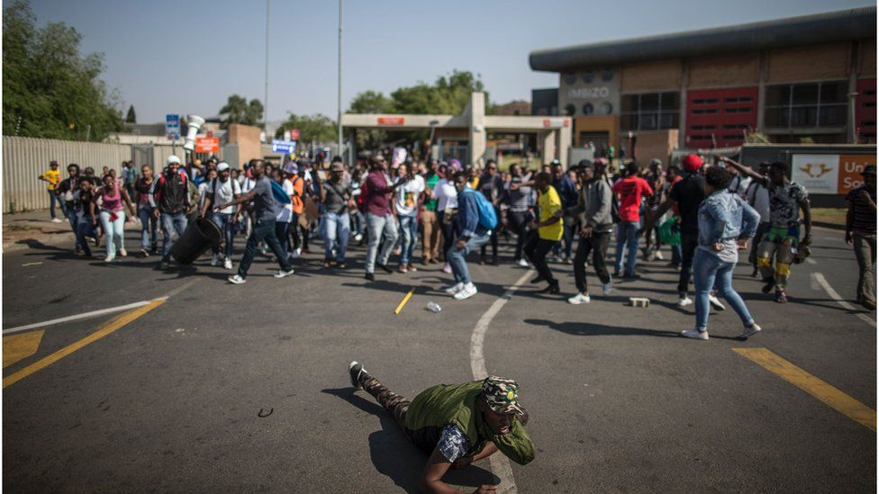 Students protesting in Soweto for #FeesMustFall