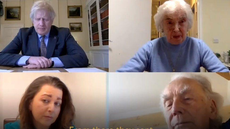 Boris Johnson talks to Holocaust survivor and ex-British soldier