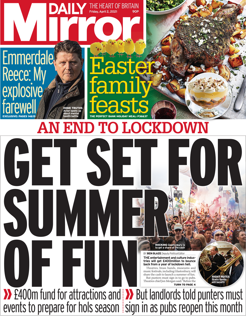 The Daily Mirror front page 2 April 2021