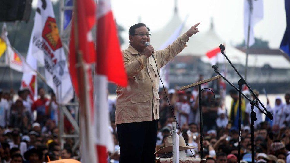 Prabowo Subianto addresses a rally