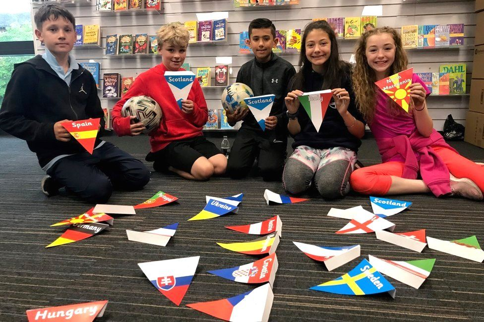 Pupils with bunting