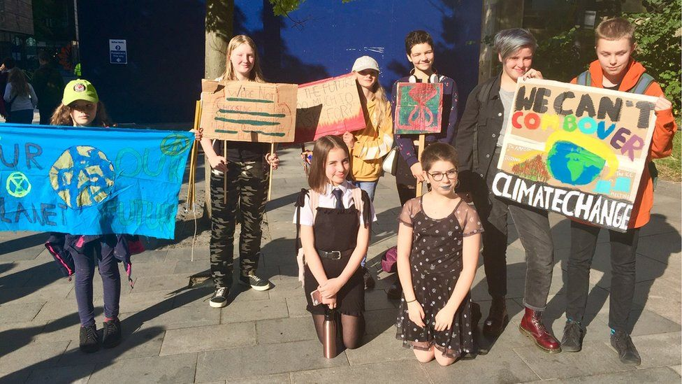 Pupils at the climate change march in Edinburgh Pic: Angie Brown