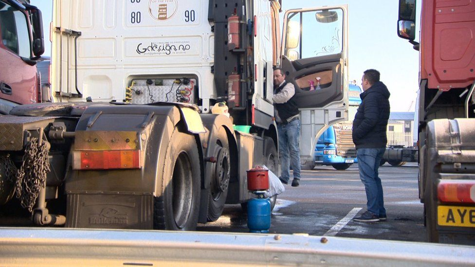 Drivers at a truck stop in Immingham, Lincolnshire