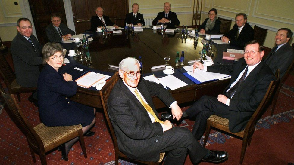 The first meeting of the devolved Northern Ireland Executive in December 1999