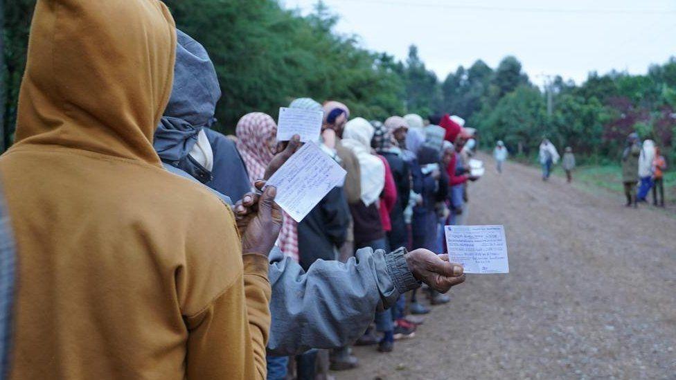 Voters in a queue