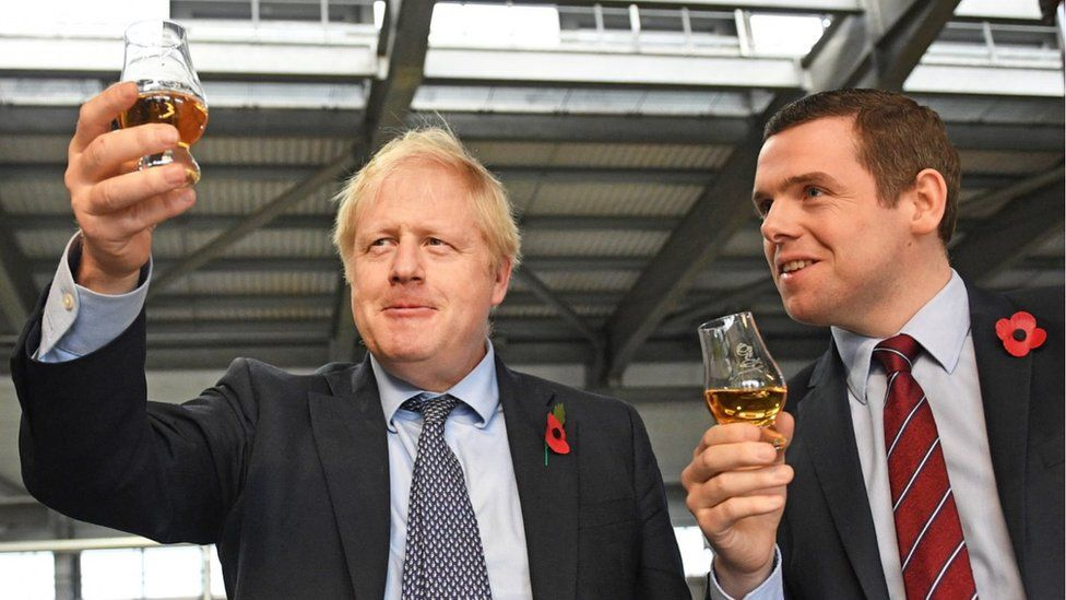 Prime Minister Boris Johnson (left) alongside Douglas Ross