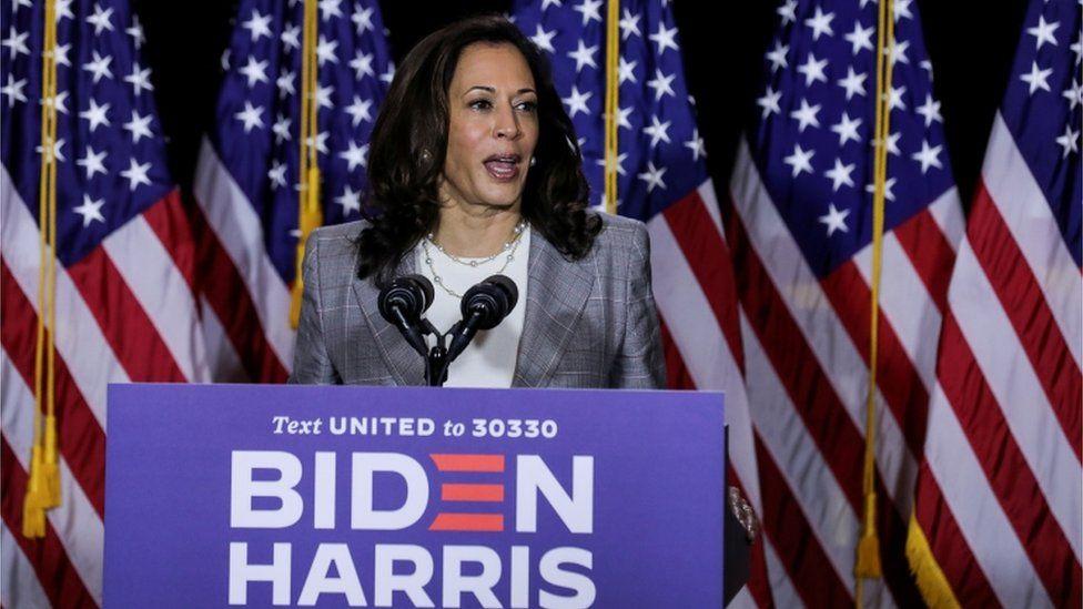 Kamala Harris speaks a campaign event in Wilmington, Delaware, 13 August 2020
