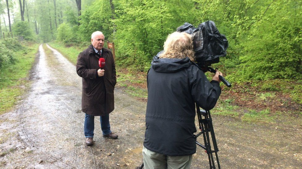 Mervyn Jess at the scene of the search near Rouen, France