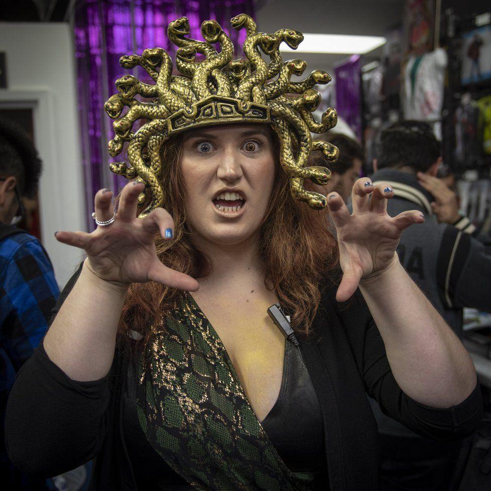 Woman dressed up as Medusa