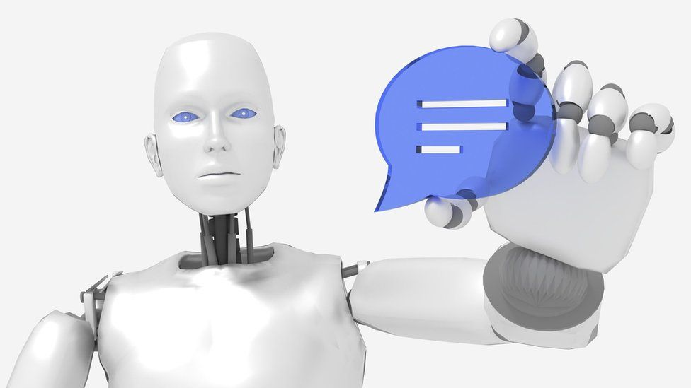 Female robot holding a speech bubble symbol