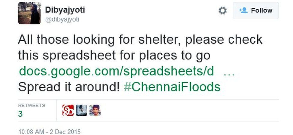 All those looking for shelter, please check this spreadsheet for places to go https://docs.google.com/spreadsheets/d/1rZc3e9scewKxbZBn0vfDqkxOTy_NJYUBSfsVPgnkmdY/htmlview?sle=true# … Spread it around! #ChennaiFloods