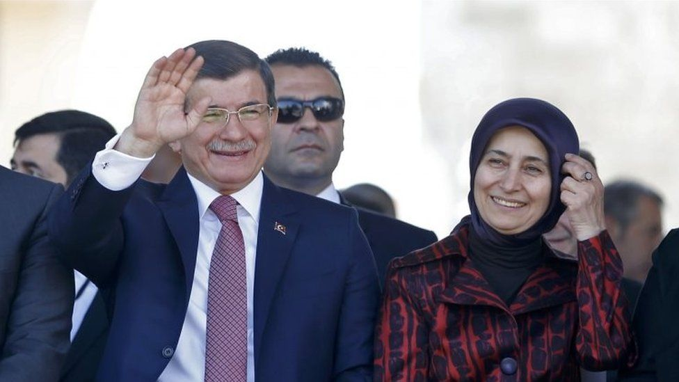 Turkish Prime Minister Ahmet Davutoglu and his wife Sare attend the opening ceremony in Banja Luka (07 May 2016)