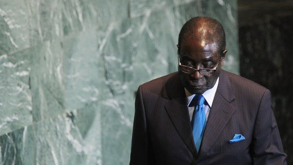 Robert Mugabe, walks after delivering an address to the United Nations General Assembly at UN. headquarters 22 September 2011, New York City