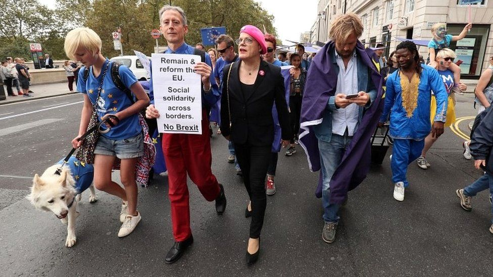 Peter Tatchell and Eddie Izzard stand alongside pro-Europe protesters at the rally