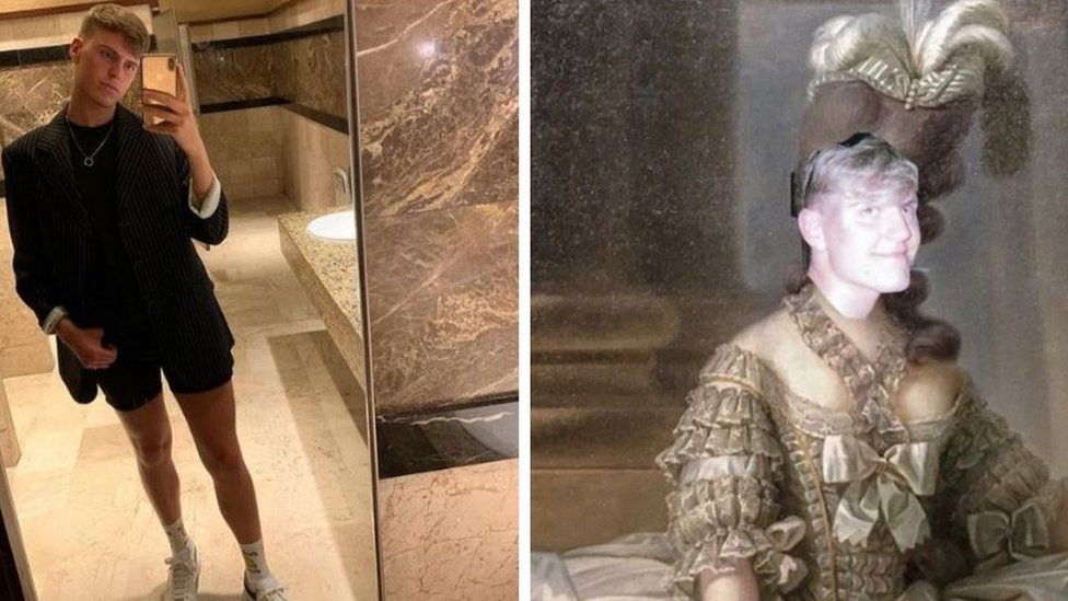 Jamie takes a photo in a marble bathroom in a structured blazer next to a photo of Jamie's face super imposed on Marie Antoinette