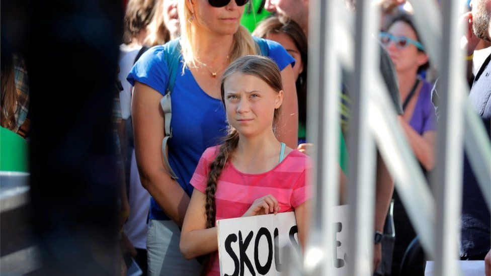 Greta Thunberg about to go on stage in New York to address demonstrators taking part in a global climate strike on 20 September 2019
