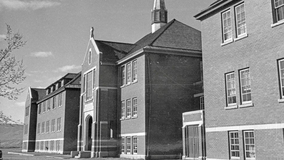 The main administrative building at the Kamloops Indian Residential School is seen in Kamloops, British Columbia