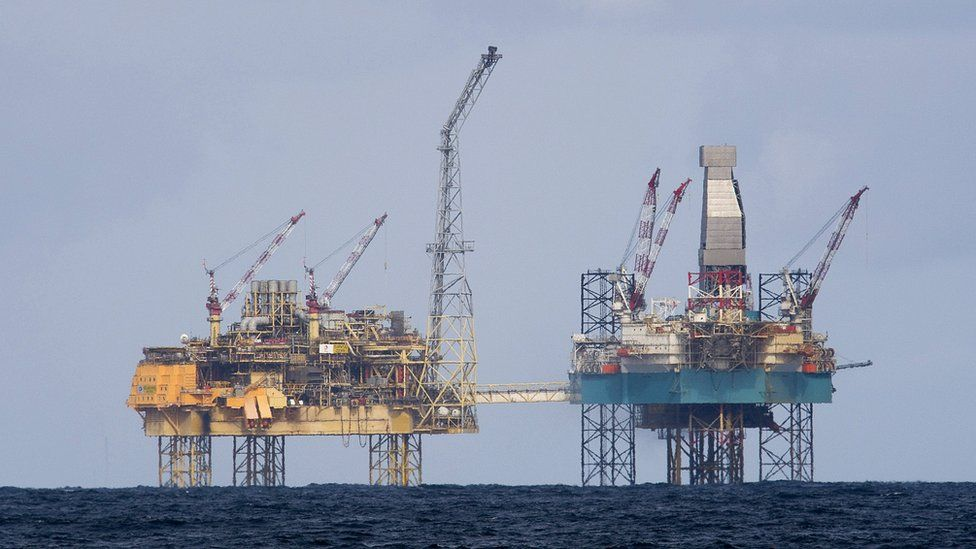 Oil rigs in the North Sea