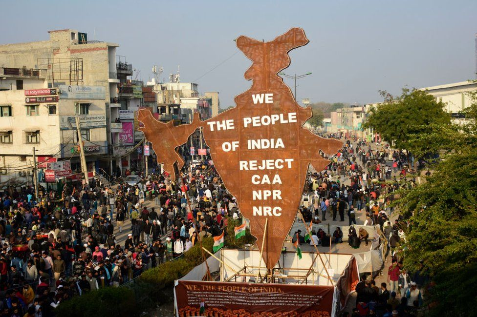 Indian people protest against the controversial Citizenship Amendment Act (CAA), the National Register of Citizens (NRC) and the National Population Register (NRP) in Shaheen bagh area of New Delhi, India on 02 February 2020.