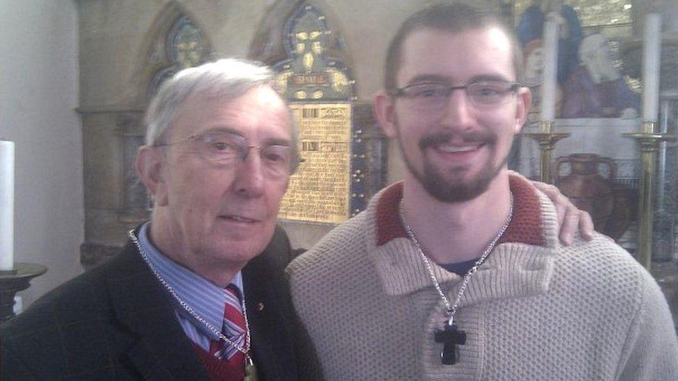 Mr Field standing next to novelist Mr Farquhar