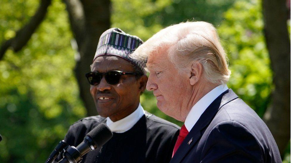 Nigeria's President Muhammadu Buhari (left) and US President Donald Trump in the Rose Garden of the White House