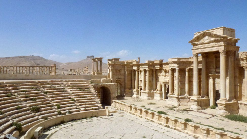 A general view taken on March 27, 2016 shows the theatre in the ancient Syrian city of Palmyra, after government troops recaptured the UNESCO world heritage site from Islamic State (IS) group jihadists on March 27, 2016.