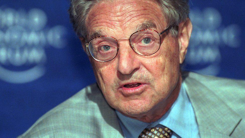 Billionaire investor and philanthropist George Soros speaks to reporters at the World Economic Forum June 3, 2001, in Salzburg, Austria