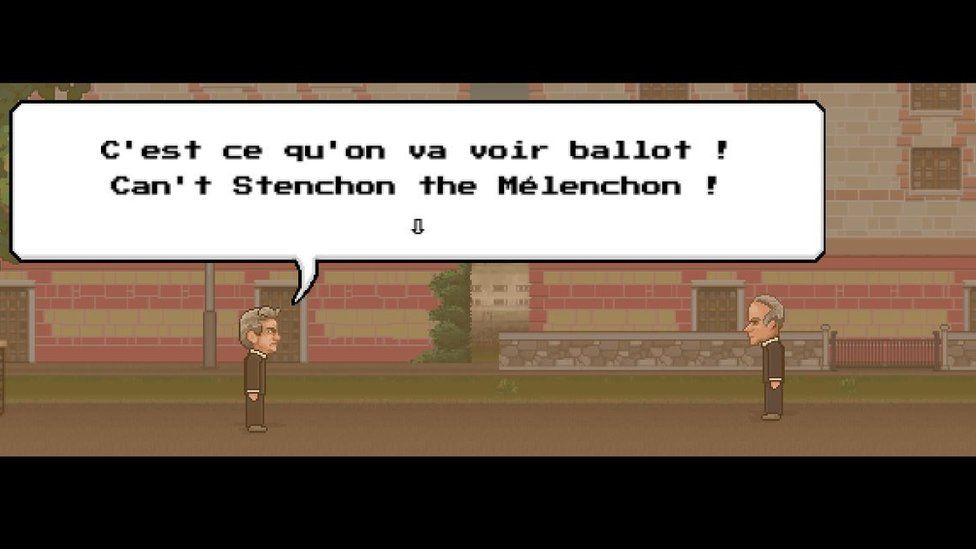 A scene from the game: Melenchon: We'll see about that you half-wit! You can't stump the Melenchon!