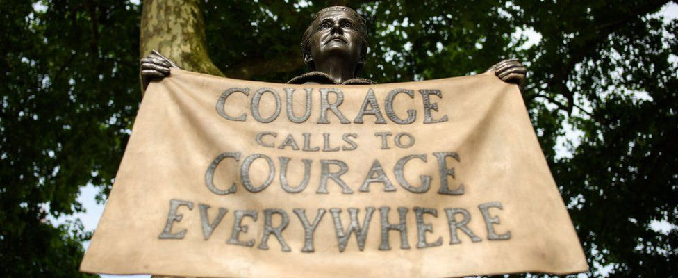The statue of Women's Rights campaigner Millicent Garrett Fawcett