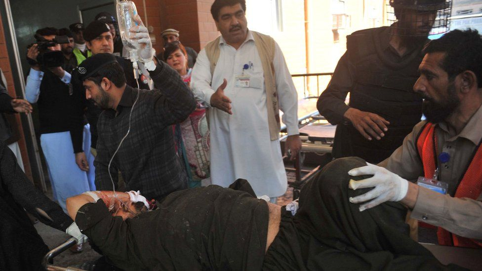 Wounded man taken to hospital in Peshawar on 21 February 2017