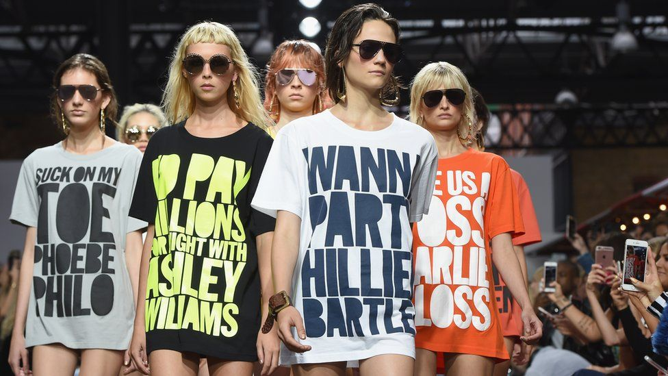 House of Holland slogan shirts on the catwalk in 2016
