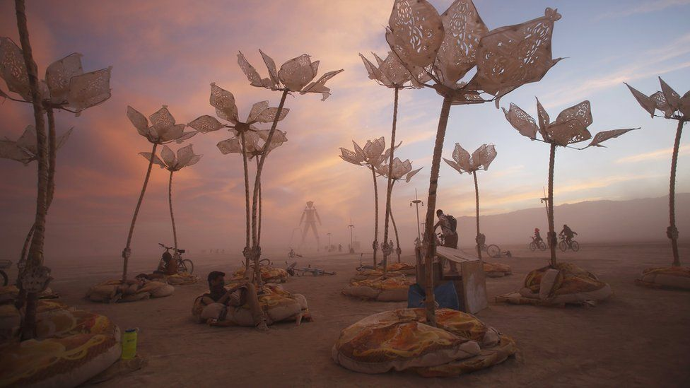 The art installation Pulse and Bloom, Burning Man 2014