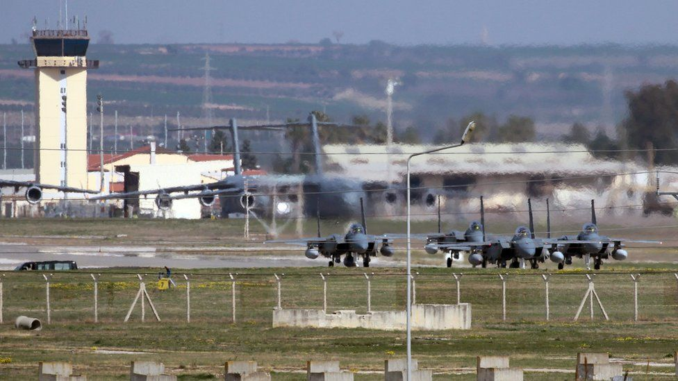 Saudi jet fighters parked at Incirlik Air Base in southern Turkey
