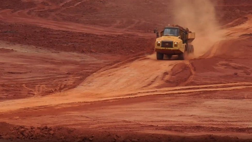 Truck in Mozambique ruby mine