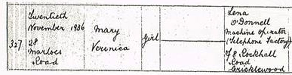 Anthea's birth certificate, where she is named Mary Veronica