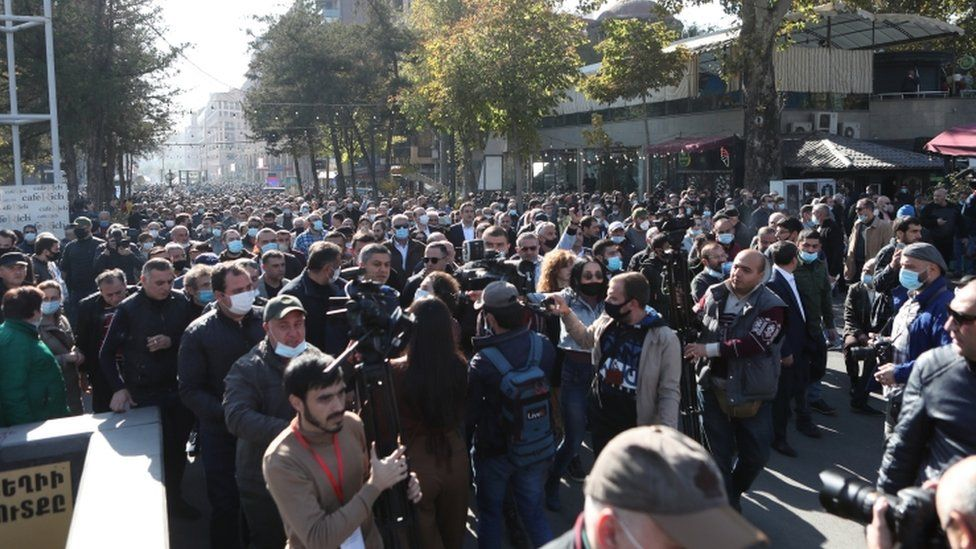 Armenian people attend a rally in the Freedom Square in Yerevan, Armenia, 11 November 2020.