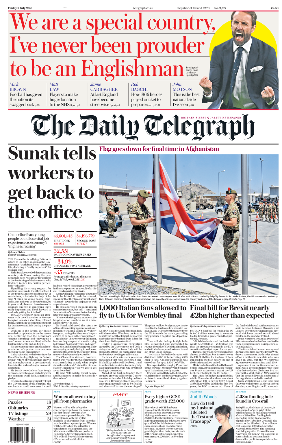 Daily Telegraph 9 July 2021