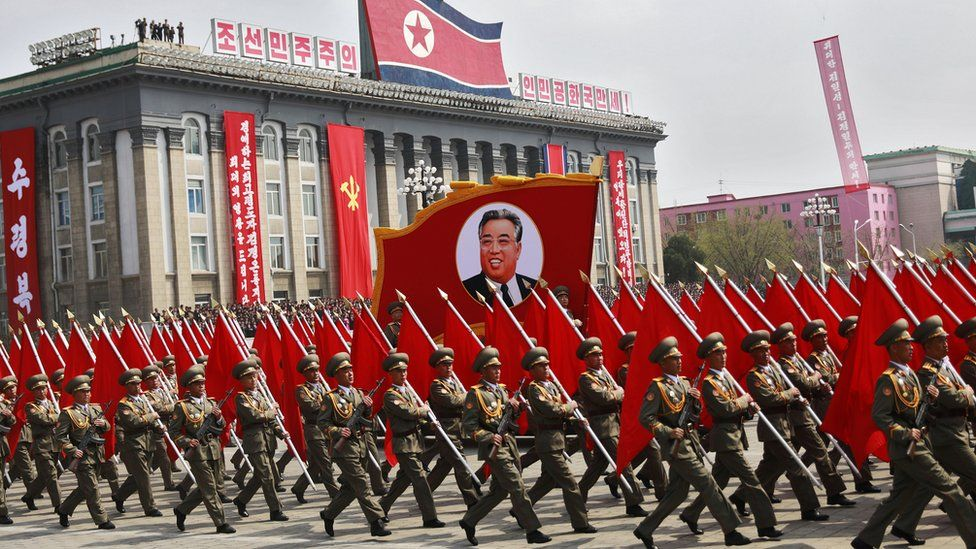 Soldiers parade in Pyongyang to mark the 105th anniversary of the birth of the nation's founding president