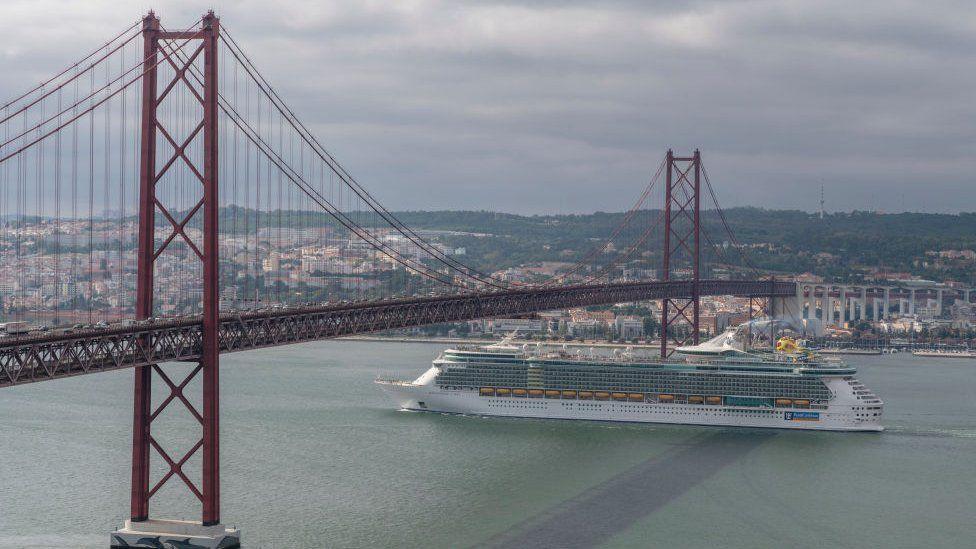 A Royal Caribbean cruise ship in Lisbon, Portugal
