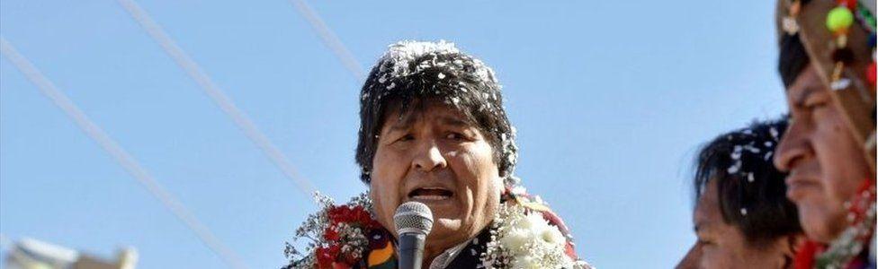 Bolivia's President Evo Morales speaks during a ceremony in Potosi, Bolivia, August 23, 2017.