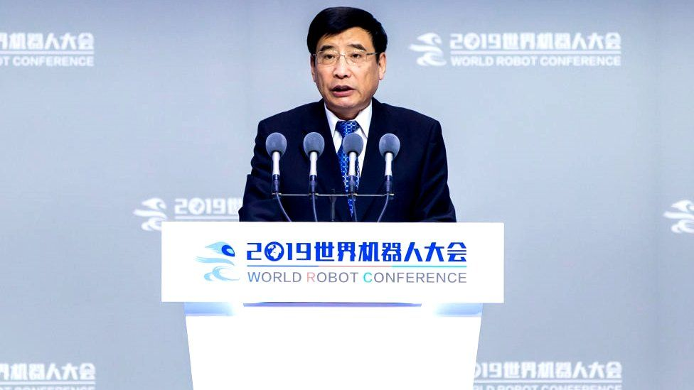 Miao Wei, Minister of Industry and Information Technology, speaks during the opening ceremony of the World Robot Conference (WRC) 2019 at Beijing Etrong International Exhibition and Convention Center on August 20, 2019 in Beijing, China.