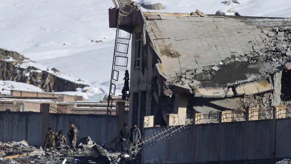 Afghan security officers inspect the area of a collapsed building of Afghanistan's intelligence office in Wardak, Afghanistan, 21 January 2019