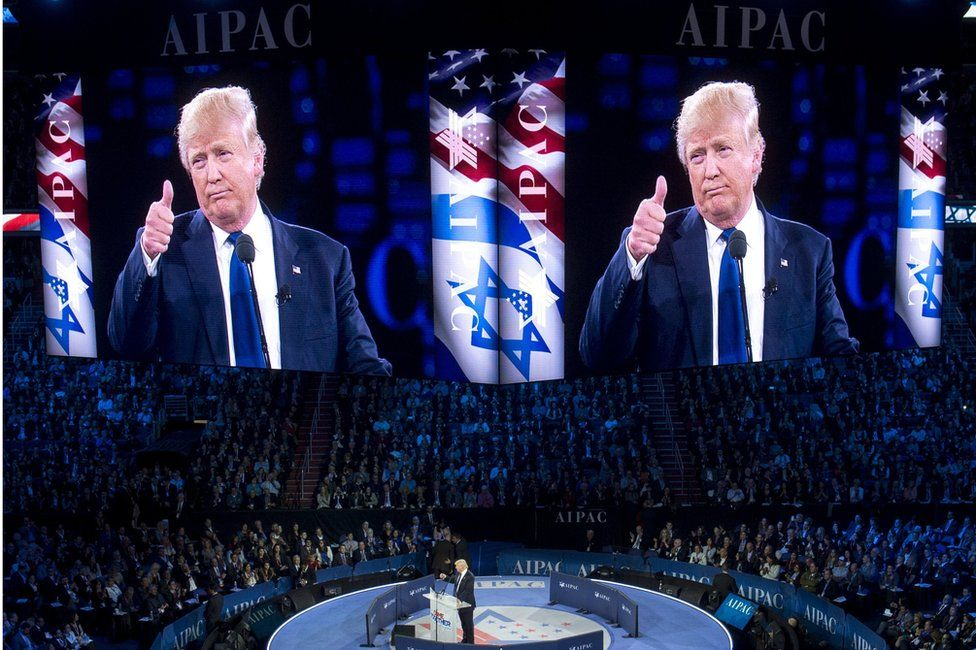 Donald Trump addressing the American Israel Public Affairs Committee 2016 Policy Conference in Washington (21 March 2016)