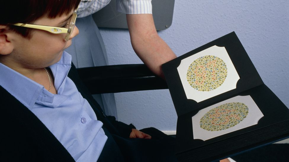 A child takes a colour blindness test