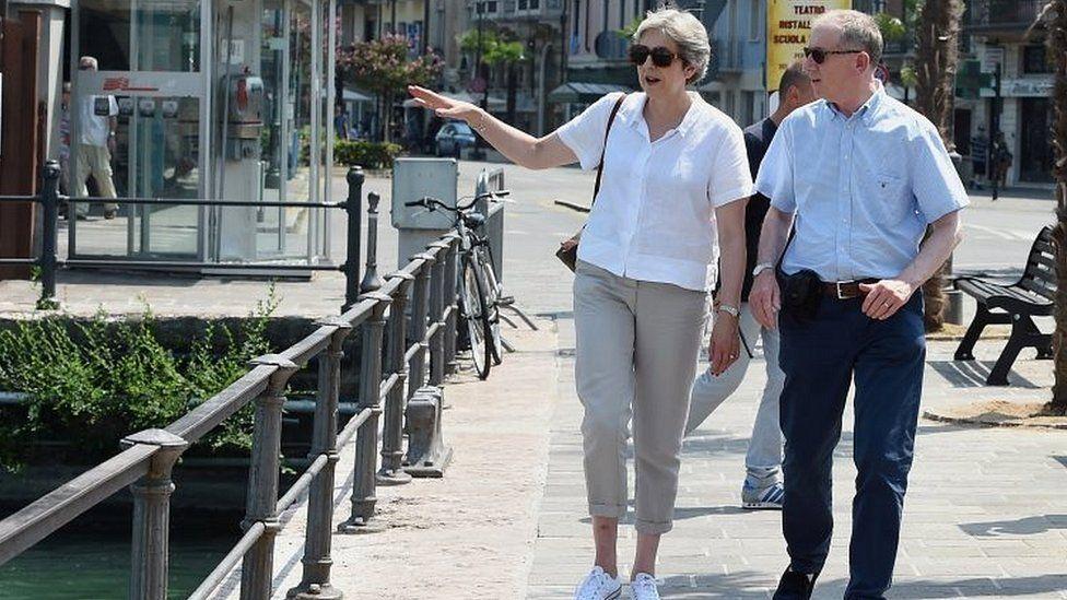 Theresa May and husband Philip in Italy