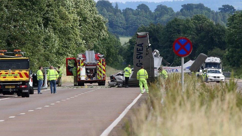 Crash scene in Monmouthshire