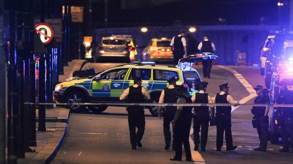 Police on London Bridge in the aftermath of the attack